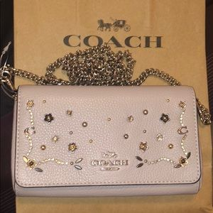 100% Authentic Coach Taupe Lthr studded crossbody